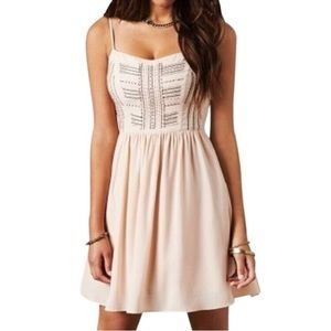 American Eagle Pink Beaded Dress Fit and Flare